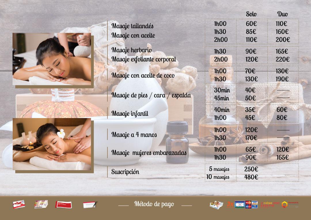 Precios masajes