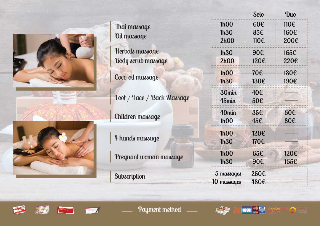 Prices massages